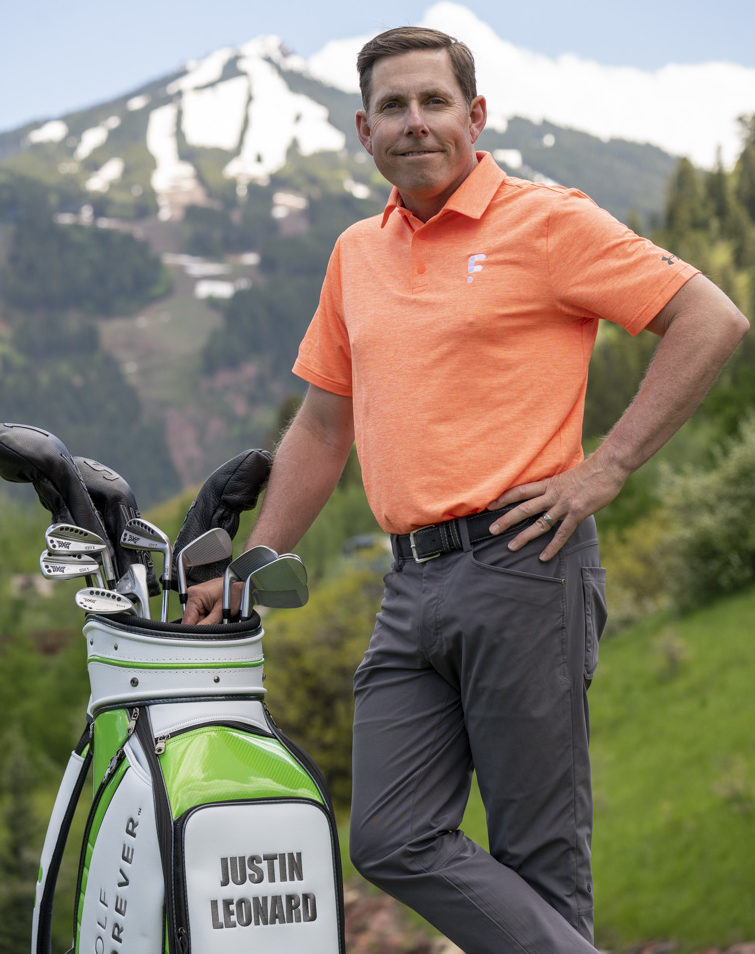 Justin Leonard and his golf clubs