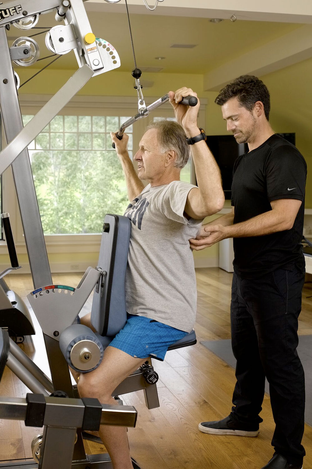 Bob and Dr. Jeremy James demonstrating strength training exercise